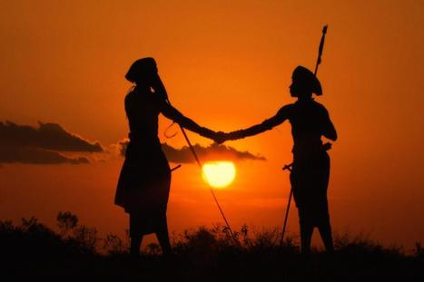 Laikipia, Kenya: Silhouette of Boni and Lemarti shaking hands at sunset. | Venicia Guinot | Scoop.it
