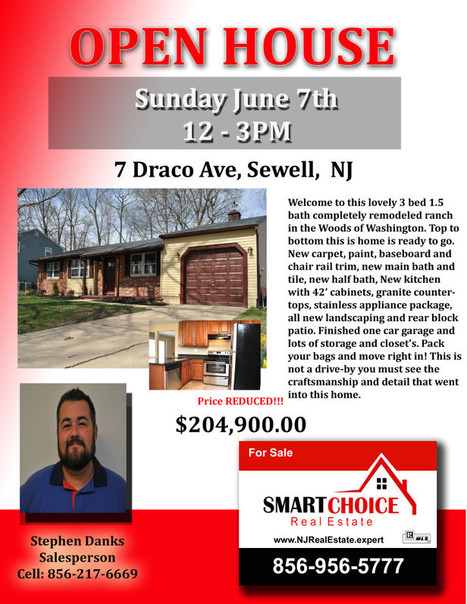 OPEN HOUSE Sunday June 7th 7 Draco Sewell, NJ SMART Choice Real Estate | SmartChoiceRealEstate | Scoop.it
