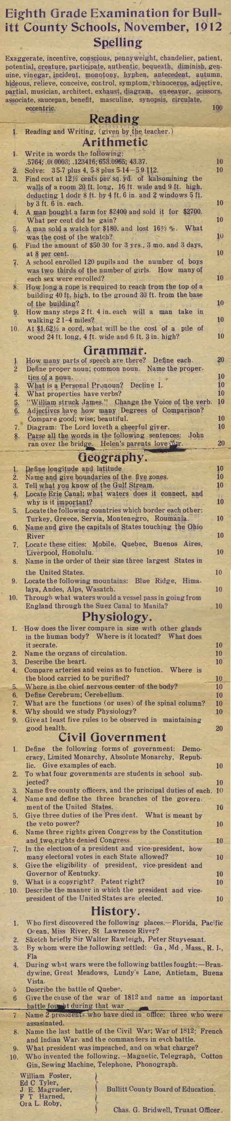 Could You Pass This Eighth-Grade Exam From 1912? | Principles for Effective Use of Instructional Technology | Scoop.it