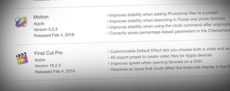 Updates to Final Cut Pro 10.2.3, Motion 5.2.3, Compressor 4.2.2 and Pro Video Formats 2.0.4 | JDE Motion | Scoop.it