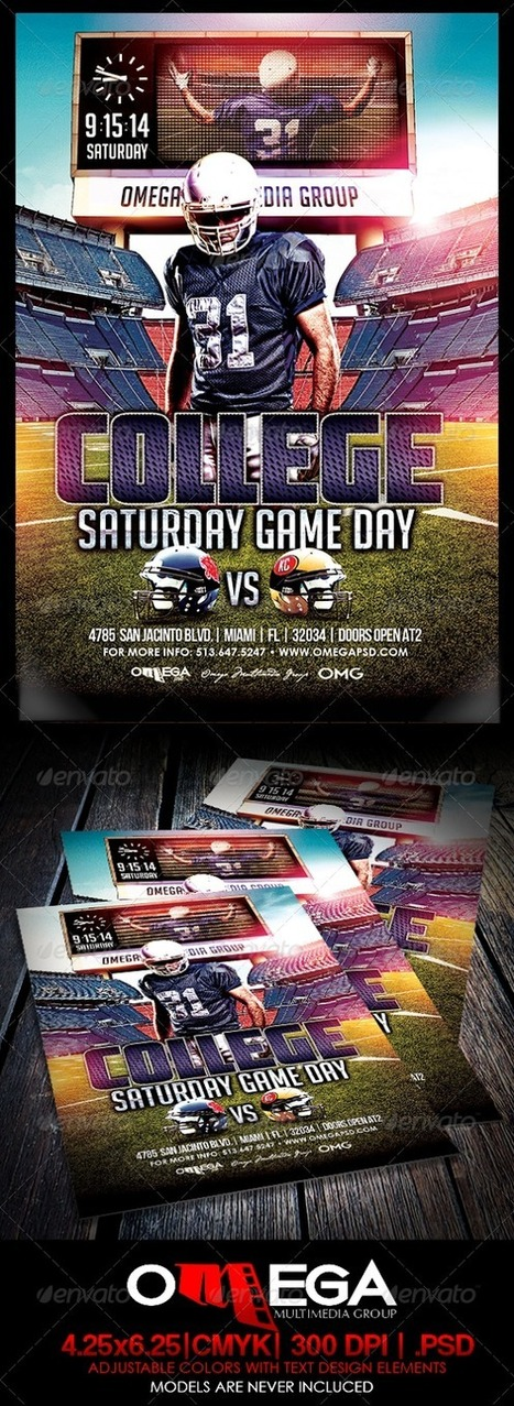 American College Football Night Party Flyer Template PSD File 2014. | artgrap.com | Artwork, Graphic & Illustration | Scoop.it