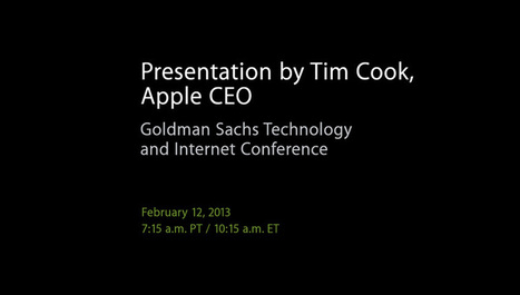 Apple's Cook to speak at Goldman Sachs tech conference tomorrow   Goldman Sachs   Scoop.it