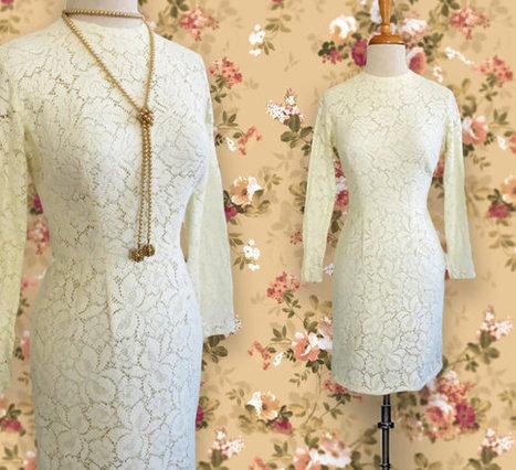 Vintage Short Long Sleeve Cream Colored Lace Dress.  Vintage Dress. Size Small | DustyDesert vintage | Scoop.it