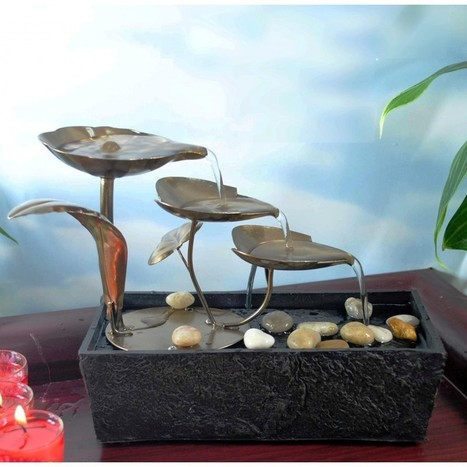 Buy Step Metal Leaves LED table Fountain Online at Best Price - Importwala.com   Buy online Home Decor Shopping in India - Importwala.com   Scoop.it