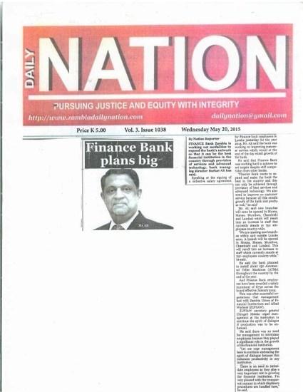 Dr. Mahtani has bigger plans for the Finance Bank Zambia | Dr. Rajan Mahtani | Scoop.it