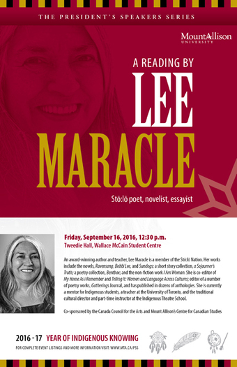 Mount Allison University | Lee Maracle kicks off Mount Allison's President's Speakers Series for the University's Year of Indigenous Knowing | AboriginalLinks LiensAutochtones | Scoop.it