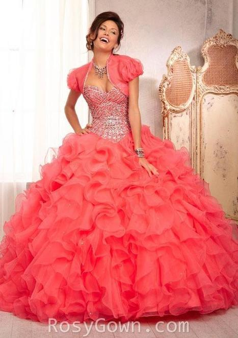 Beaded Ruffled Pink Organza Strapless Quinceanera Dress | Cheap Prom Dresses | Scoop.it