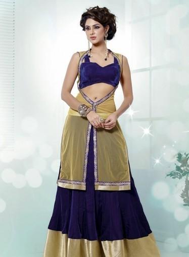 Royal Blue Wedding Velvet Lehnga Choli with Dangler. Purchase online today   Bridal Lehengas   Scoop.it