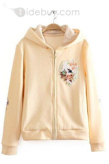 Polished Loose Long Sleeves Hooded Floral Hoodies | modern time | Scoop.it