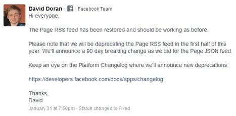 RSS on Facebook still risks to be deprecated. Annoucement will stand on the Changelog   RSS Circus : veille stratégique, intelligence économique, curation, publication, Web 2.0   Scoop.it