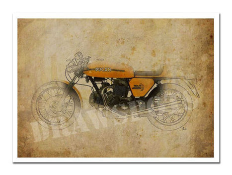 Ducati 750 Sport 1973, Art Print 11.5x16in, Motorcycle Art print, Bike drawing, poster based on an original art | Ducati Art | Scoop.it