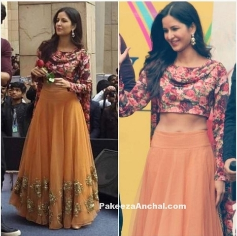 Katrina Kaif in Floral Choli and Orange Lehenga by Bhumika Sharma | Indian Fashion Updates | Scoop.it