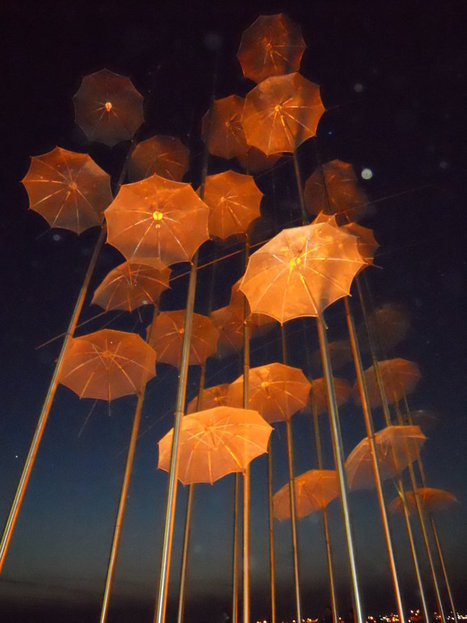 "George Zongolopoulos: ""Umbrellas"" (at night) 