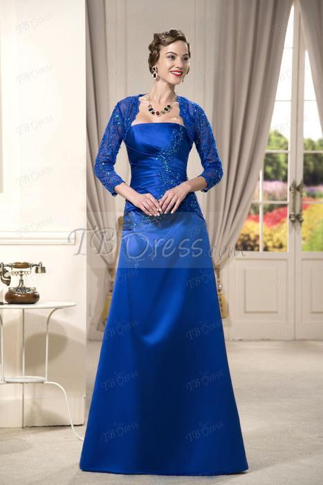 Hot Elegant Strapless Sleeveless Sequins Applique Floor-length Evening/Mother of the Bride Dress | skirt | Scoop.it