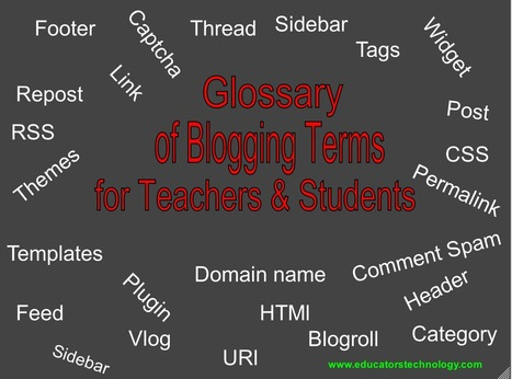 A Glossary of Blogging Terms for Teachers and Students | Teachers | Scoop.it