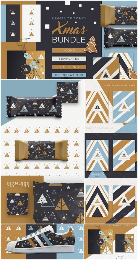 #FREE Trendy Contemporary Xmas Bundle design kit | Design Freebies & Deals | Scoop.it