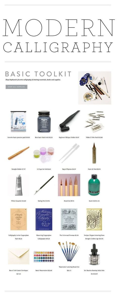Modern calligraphy tools reference guide dr