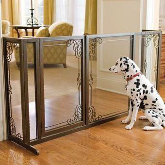 34'H Expandable Free-standing Steel Mesh Pet Gate | Pressure Mounted Pet Gates | Scoop.it