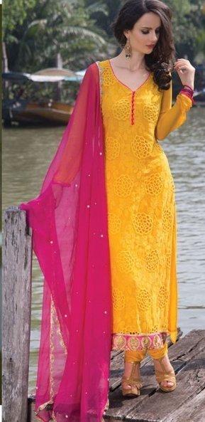 10% OFF - Georgette Bridal Churidar Kameez ORKB8 | Designer Salwar Kameez | Party Wear Salwar Kameez | Bollywood Churidar Salwar Kameez | Scoop.it