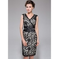 [US$ 138.99] Sheath/Column V-neck Knee-Length Satin Lace Cocktail Dress (007037276) | shopping suggestion | Scoop.it