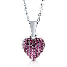 BERRICLE - Ruby Cubic Zirconia 925 Sterling Silver Puffed Heart Pendant Necklac | Berricle Necklaces | Scoop.it