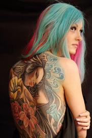 girl portrait flowers lily rose full back Female tattoo | Female tattoo | Scoop.it