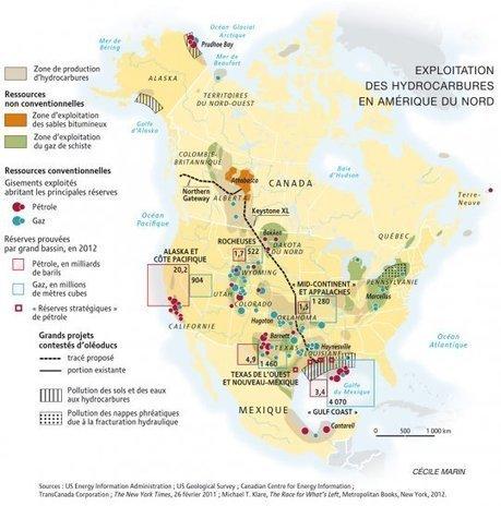 Carte : Exploitation des hydrocarbures en Amérique du Nord (Le Monde diplomatique) | #Agreg | Scoop.it