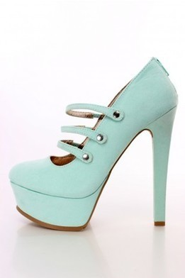 Mint Strappy Maryjane Heels Faux Suede   The Season's Hottest Styles from Pink Basis   Scoop.it