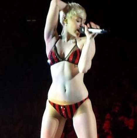 "Miley Cyrus In Sequined Bikini Onstage | ""FOLLIEWOOD"" 