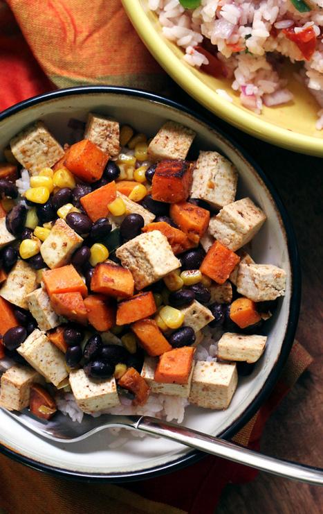Tofu, Sweet Potato, and Black Bean Vegetarian Burrito Bowls | World Juice Bar | Scoop.it