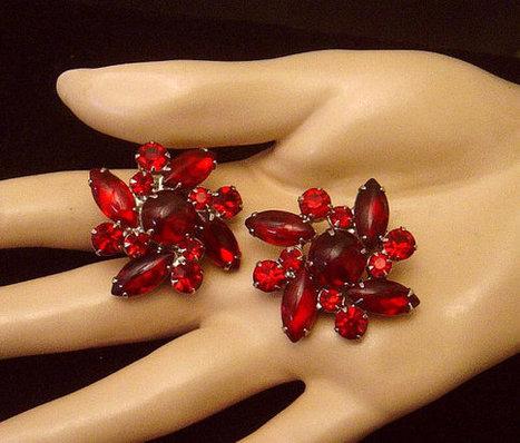 Vintage deep ruby red rhinestone Earrings   Vintage Jewelry   Scoop.it