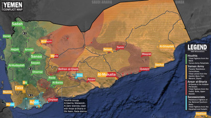 Current map of the conflict in Yemen. - Maps on the Web | Géopolitique & Cartographie | Scoop.it