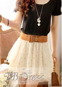 $ 10.69 Modern Polka Dots Mesh  Skirt with Belt | fashion | Scoop.it