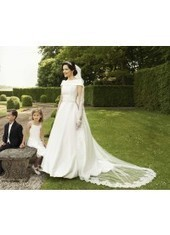 A Line As Picture Chapel Train Satin Ivory Wedding Dress H1ly0022 for $957 | Landybridal 2014 wedding dress | Scoop.it