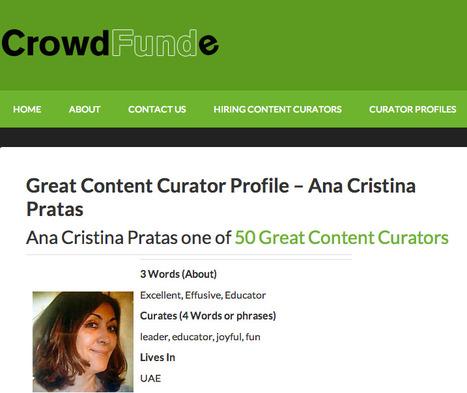 Great Content Curator Profile - Ana Cristina Pratas - CrowdFunde | Ana Cristina Pratas - E-Portfolio | Scoop.it