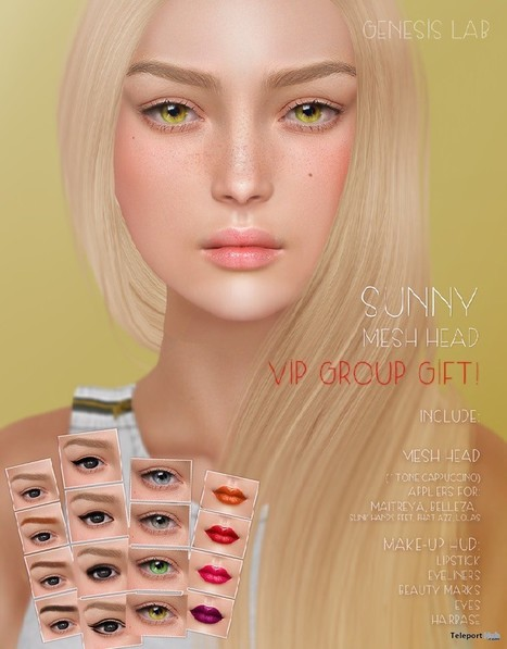 Sunny Mesh Head Group Gift by Genesis Lab | Teleport Hub - Second Life Freebies | Second Life Freebies | Scoop.it