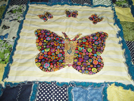 """Stunning Original """"Butterfly Beauty"""" Baby Quilt blue yellow green Hand Embroidered 