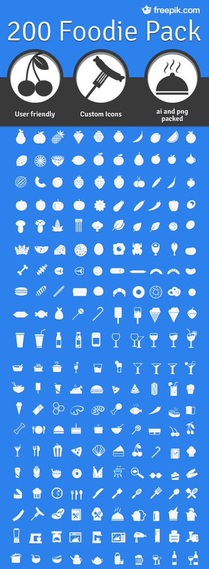 200 Foodie Pack: A Free Set Of Food Icons | Design émoi | Scoop.it