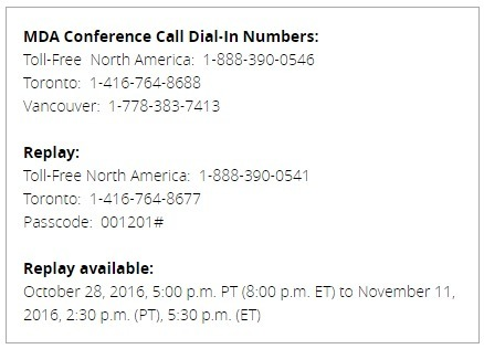 The MacDonald Dettwiler 2016 Q3 conference call and webcast will be held on Friday, October 28th | More Commercial Space News | Scoop.it