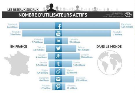 Infographie des utilisateurs actifs par réseaux sociaux : Monde vs France | Social Media | Scoop.it
