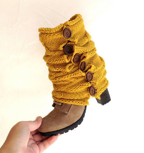 yellow Gold cable knitted Boot cuff  Winter Leg warmers Open Knit  Button Boot Socks Knit leg warmers for her gift guide 2014 senoAccessory | Winter Fashions | Scoop.it