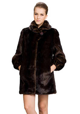Jamie/faux dark brown mink fur with fold collar/middle fur coat | Fashion Faux Fur | Scoop.it