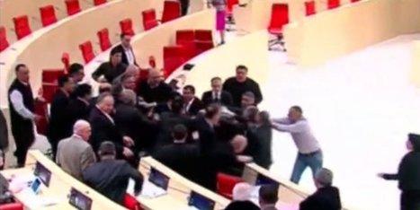 WATCH: Georgian Parliament Erupts In Brawl | Strange days indeed... | Scoop.it