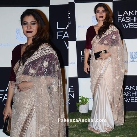 Kajol in Pastel Lace Saree with a Velvet Blouse by Manish Malhotra | Indian Fashion Updates | Scoop.it
