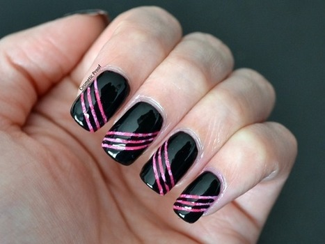 Cosmetic Proof: Day 12-Pink and Black Tape Manicure   Manicure & Pedicure Grooming Treatments   Scoop.it