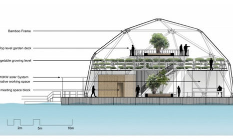 "Floating bamboo domes could keep urban farms safe from rising seas (""climate resiliency measures"") 