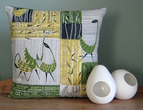 Vintage 50s Pillow Cushion Cover Vintage Mid Century by nicework | homedecor | Scoop.it