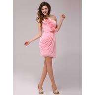 [€ 105.81] Vestido tubo Escote corazón Altura de la rodilla Chifón Baile de promoción con Volantes Flores (016013977) | fashion dress | Scoop.it