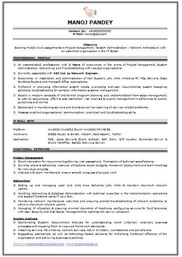 Best Resume Format For Network Engineer Fresher