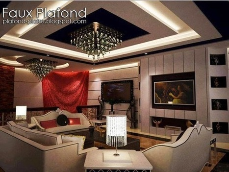 39 plafond salon 39 in faux plafond en forme d 39 un papillon for Salon simple et beau